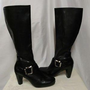 Franco Sarto Buckeye Black Tall Heeled Dress Boots